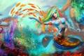 Картинка взгляд, девушка, рыбки, лицо, фантастика, океан, краски